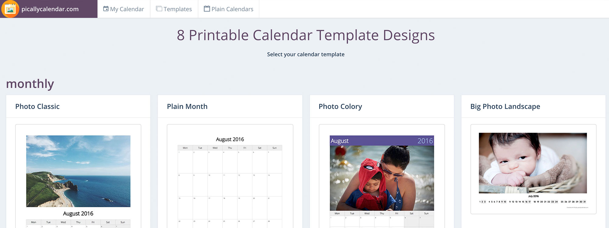 Pically – Free Photo Calendar Maker